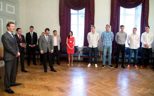 Rektori ja linnapea vastuvõt TÜ/Rock meeskonnale (FOTO: Andres Tennus)