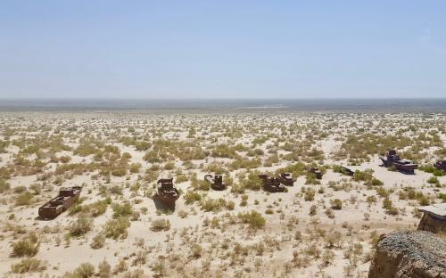Vaade kunagise Araali mere põhja Mojnaqis Usbekistanis.
